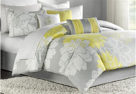 gray queen comforter sets lola gray yellow 7 pc queen comforter set queen linens
