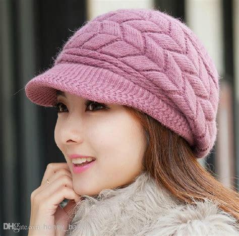 2018 autumn winter girls knitted cap rabbit fur cap peaked cap cashmere woolen cotton yarn hat