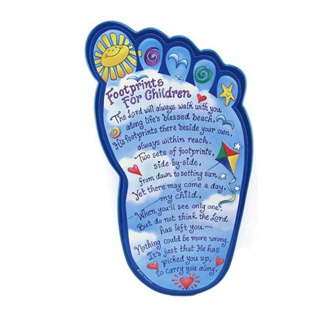 printable children s poems footprints shaped plaque the catholic company