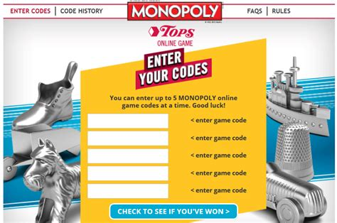 Monopoly Instant Win Prizes - enter monopoly game codes for tops markets