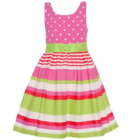Who Wore It Better Pink Printed Patio Dress by Bonnie Jean Pink Green Stripe Polka Dot Print