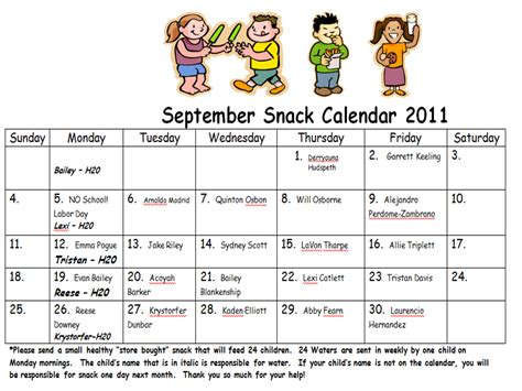 monthly snack calendar template mr brown s kindergarten news snack calendar