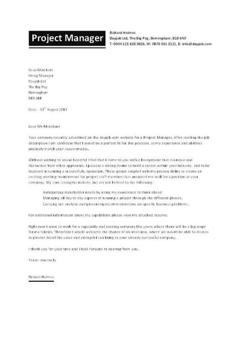 construction project manager cover letter best template