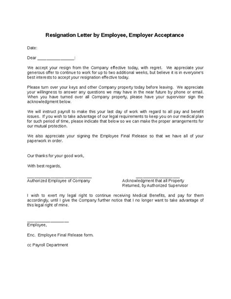 Resignation Letter Of Acceptance Employee Resignation Letter Employer Acceptance Images