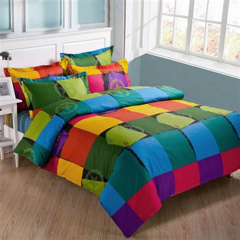 fast shipping plaid printed 4pcs queen size kids bedding