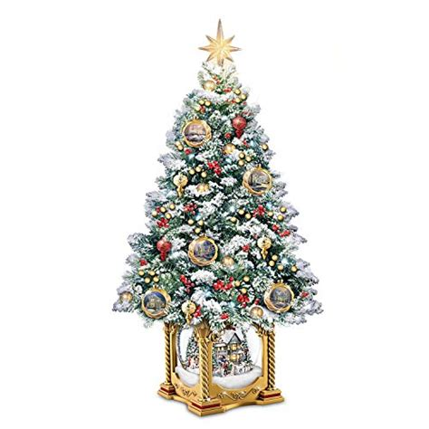 thomas kinkade snowglobe christmas tree with lights and