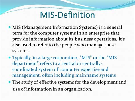 Mba Management Information Systems by Management Information System