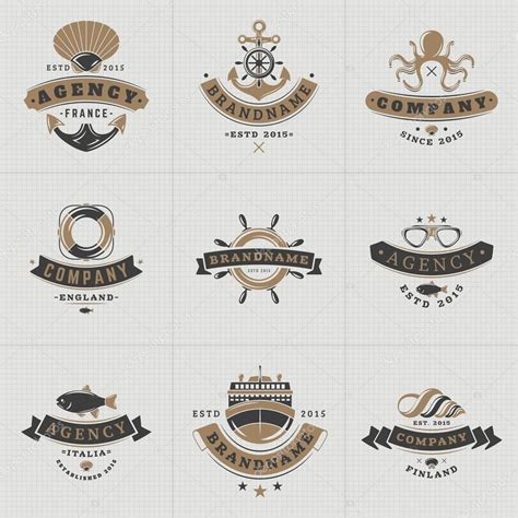set of vintage nautical sea labels with retro typography set of hipster vintage labels logotypes badges for your