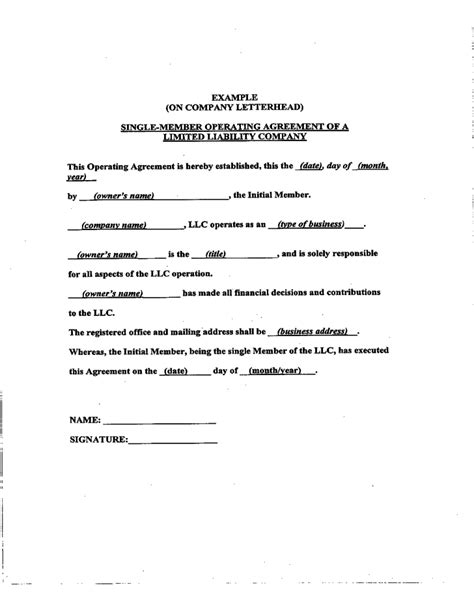 sle llc operating agreement sle free download