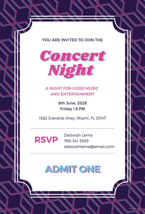 concert ticket invitation template free invitation card templates 37 free printable word pdf