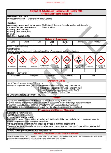 free coshh risk assessment template coshh template free best photos of coshh assessment forms