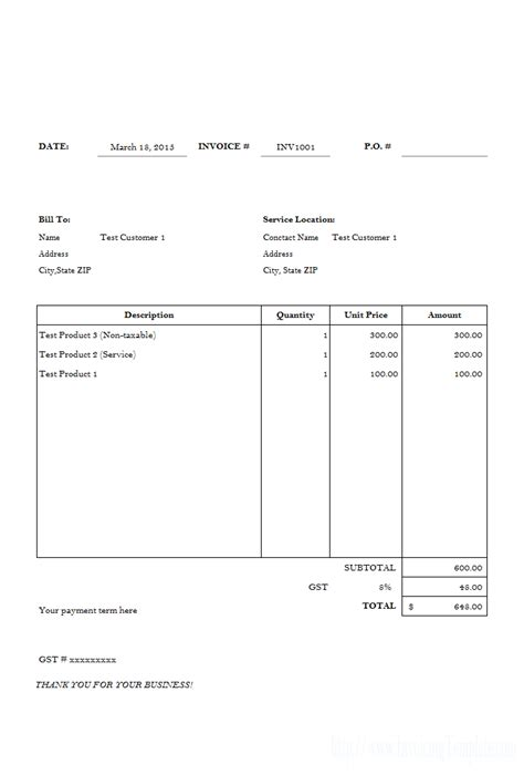 Simple Invoice Template Free To Do List Basic Invoice Template Pdf