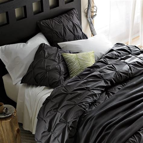 slate comforter organic cotton pintuck duvet cover shams slate