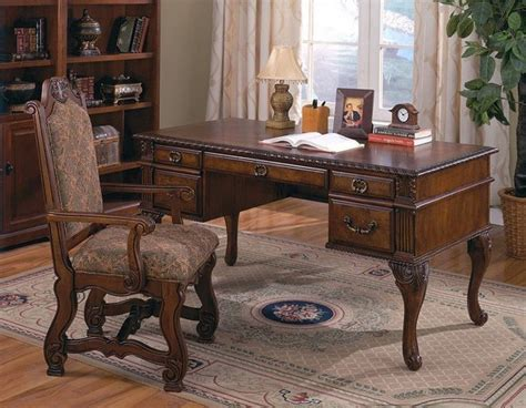 Traditional Office Desks Crown Traditional Neo Renaissance Home Office Desk With Arm Chair Set 5 Traditional