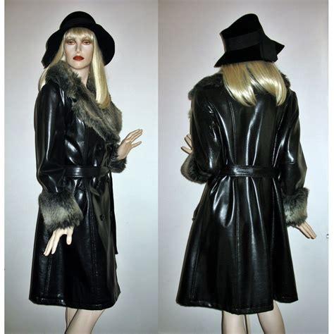 pvc vinyl trench coats vintage 60s 70s trench coat black pvc faux leather fur