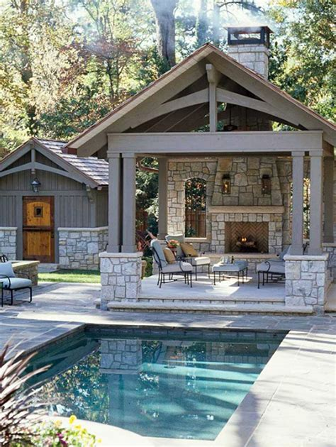 tiny pool house backyard design ideas pool backyard retreat fireplace