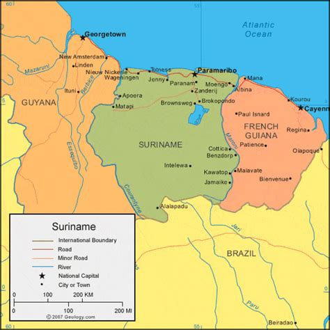 where is suriname on world map willoughbyland s lost colony