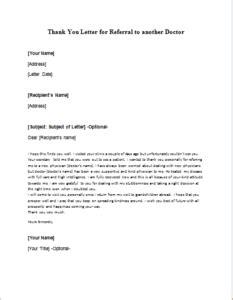 thank you letter to the doctor thank you letter for referral to another doctor
