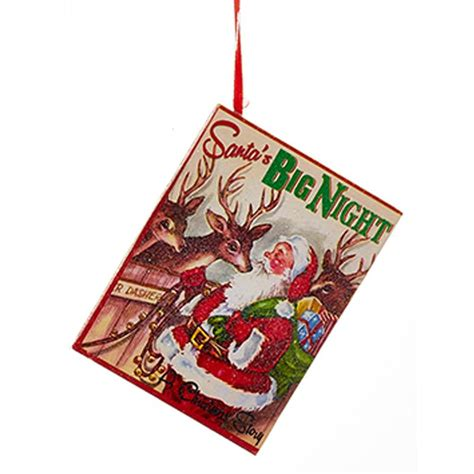 new kurt adler 4 quot wooden vintage santa book christmas