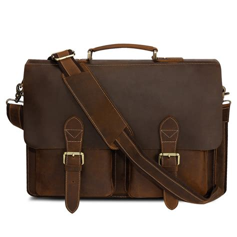 Handmade Leather Bag - kattee handmade genuine leather laptop briefcase messenger