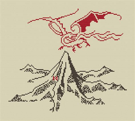 Map File Stitch the lonely mountain and smaug cross stitch pattern digital