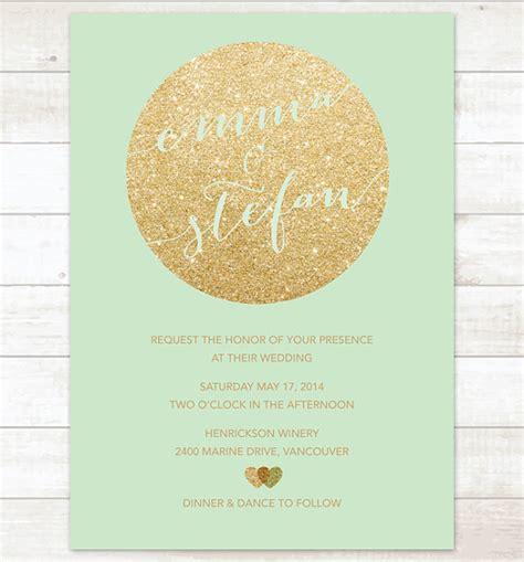 Hochzeitseinladung Gold by Minze Und Goldene Hochzeitseinladung Gold Glitter Herzen