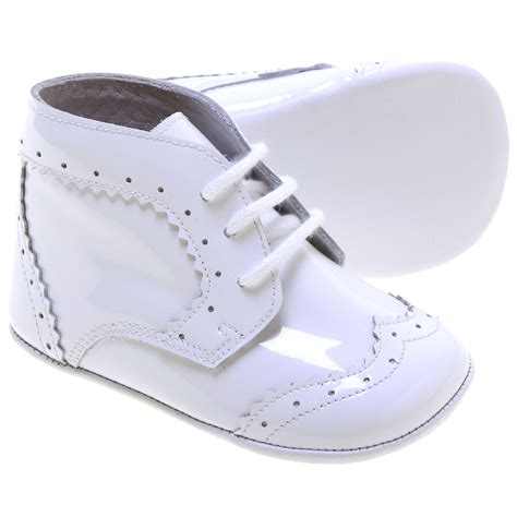 baby boys white patent leather pram shoes lace up stunning