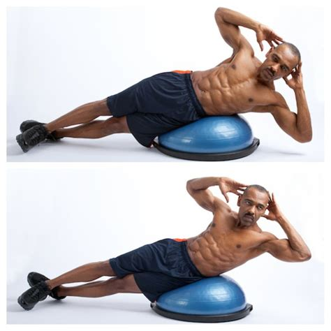 luckie s exercise of week bosu oblique crunch benefits tones obliques muscles along sides of