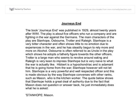 Is Journey Essay by Journey S End Essay