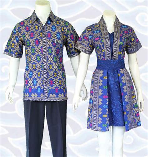 batik dress sarimbit couple biru kombinasi broklat