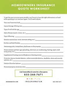 homeowners insurance quote worksheet insuramatch