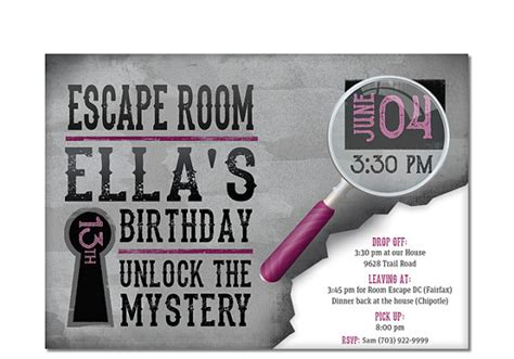 printable escape room free escape room invite girls birthday by dreambigdesignsllc
