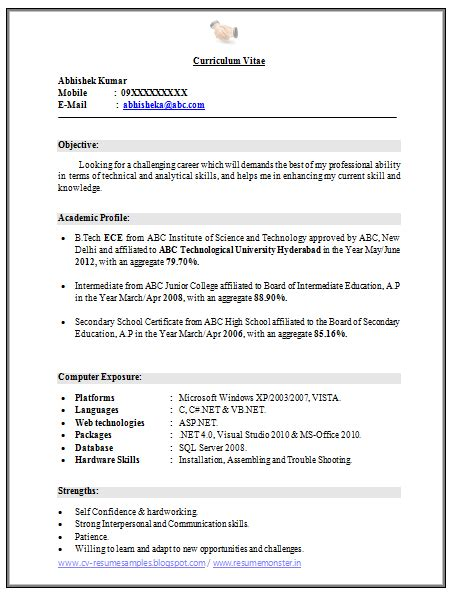 b tech resume format for fresher 10000 cv and resume sles with free b tech ece fresher resume free