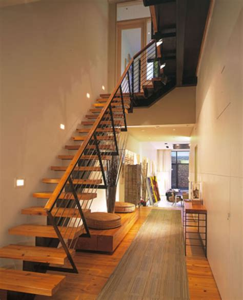 wooden front stairs corridor house flowing space design