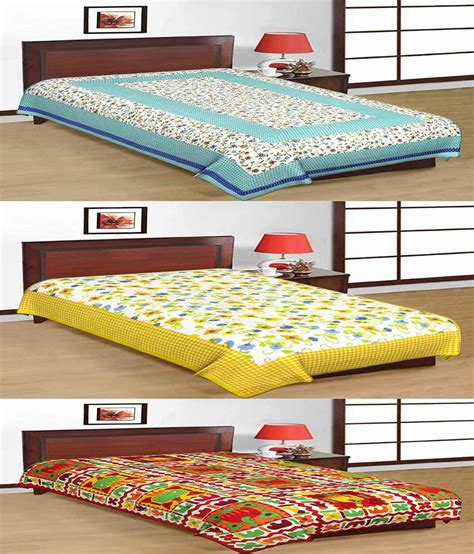 Single Bed Sheets by Uniqchoice Combo Of 3 Jaipuri Cotton Single Bed Sheet