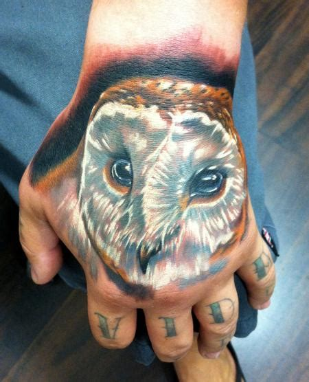 owl tattoo designs on hand paradise tattoo gathering tattoos body part hand owl