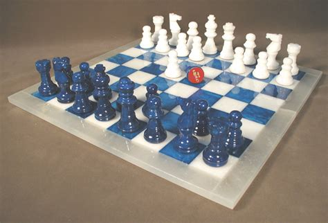white chess set blue white alabaster chess set from italy