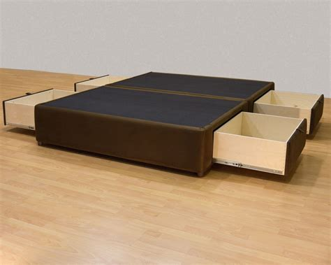 drawer bed frame king platform bed with storage drawers uphostered storage bed frame microfiber ebay