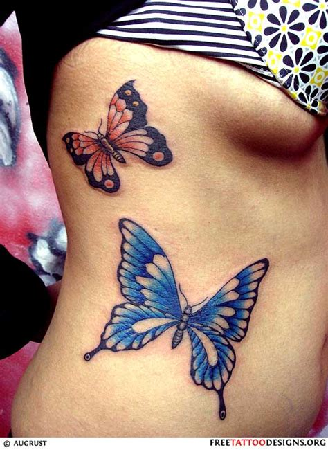 butterfly side tattoos with 2 butterfly tattoos on side