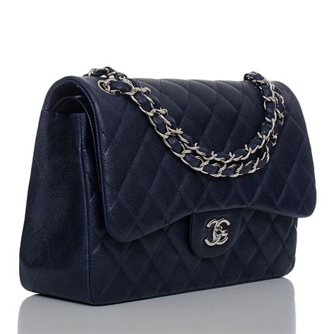 chanel navy quilted caviar jumbo classic 2 55 flap