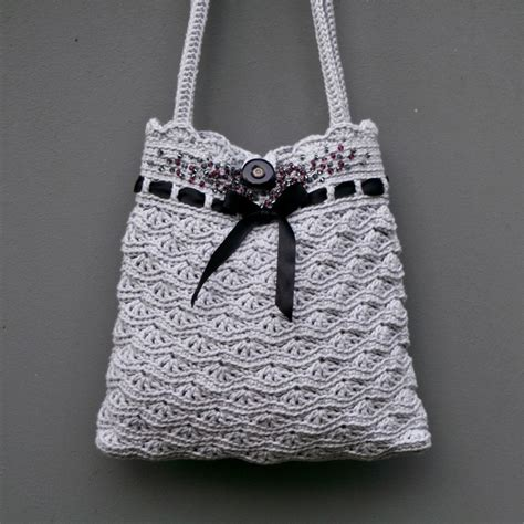 grey pattern handbag grey crochet purse instant download pdf pattern