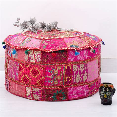 indian ottoman pouf bohemian patchwork pouf ottoman vintage indian by