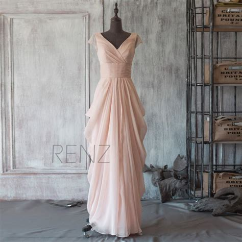 long draped dress 2015 peach chiffon bridesmaid dress cap sleeve maxi dress