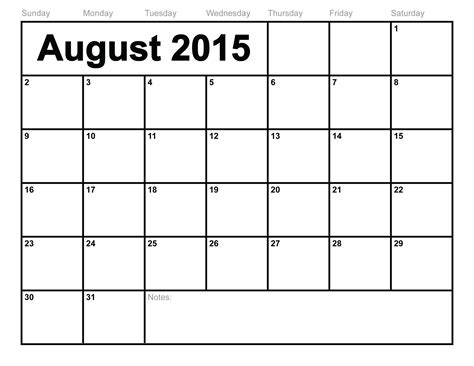 Print Monthly Calendar August 2015 Calendar Printable Template 10 Templates