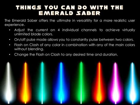 what does the color of a lightsaber how does the emerald saber stand out as the ultimate
