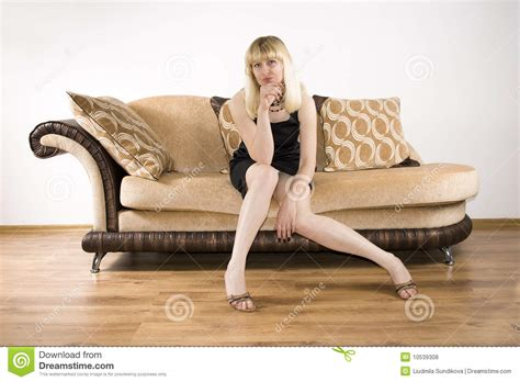 girls having on a couch young woman on a sofa stock photo image of allure