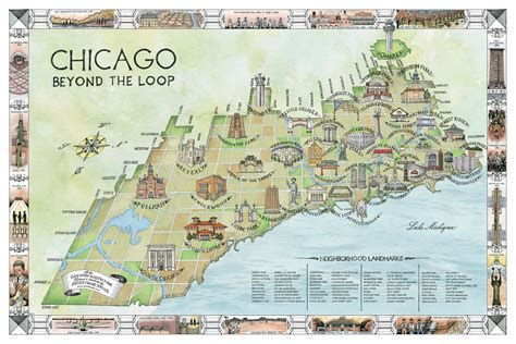 chicago map building mapping chicago neighborhoods by their landmark buildings