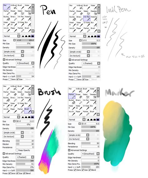 paint tool sai realistic brushes my brush settings by snowy town on deviantart