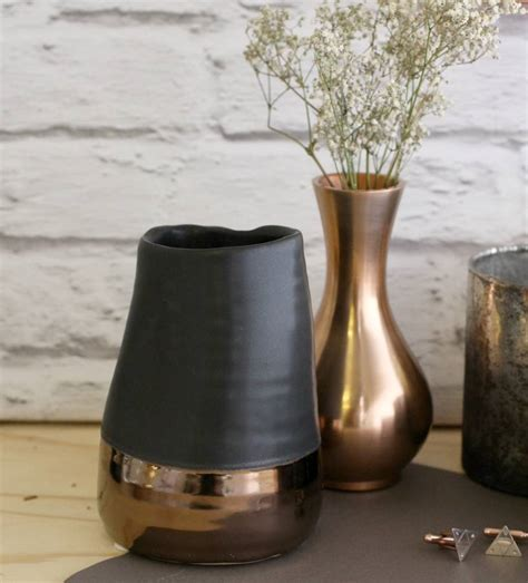 matte black and copper vase by posh totty designs