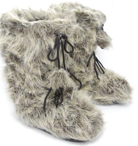 mens faux fur boots mens faux fur yeti yetti sasquatch abominable snowman moon